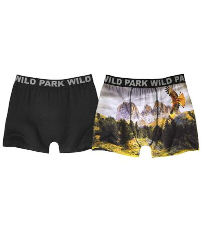 Pack of 2 Men's Print Stretch Boxer Shorts - Black