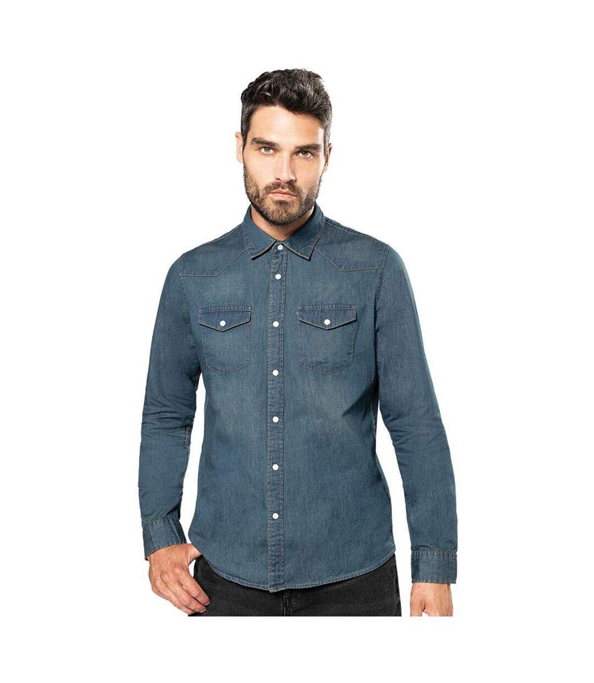 Kariban Mens Long Sleeve Casual Denim Shirt (Blue Jean) - UTRW4216