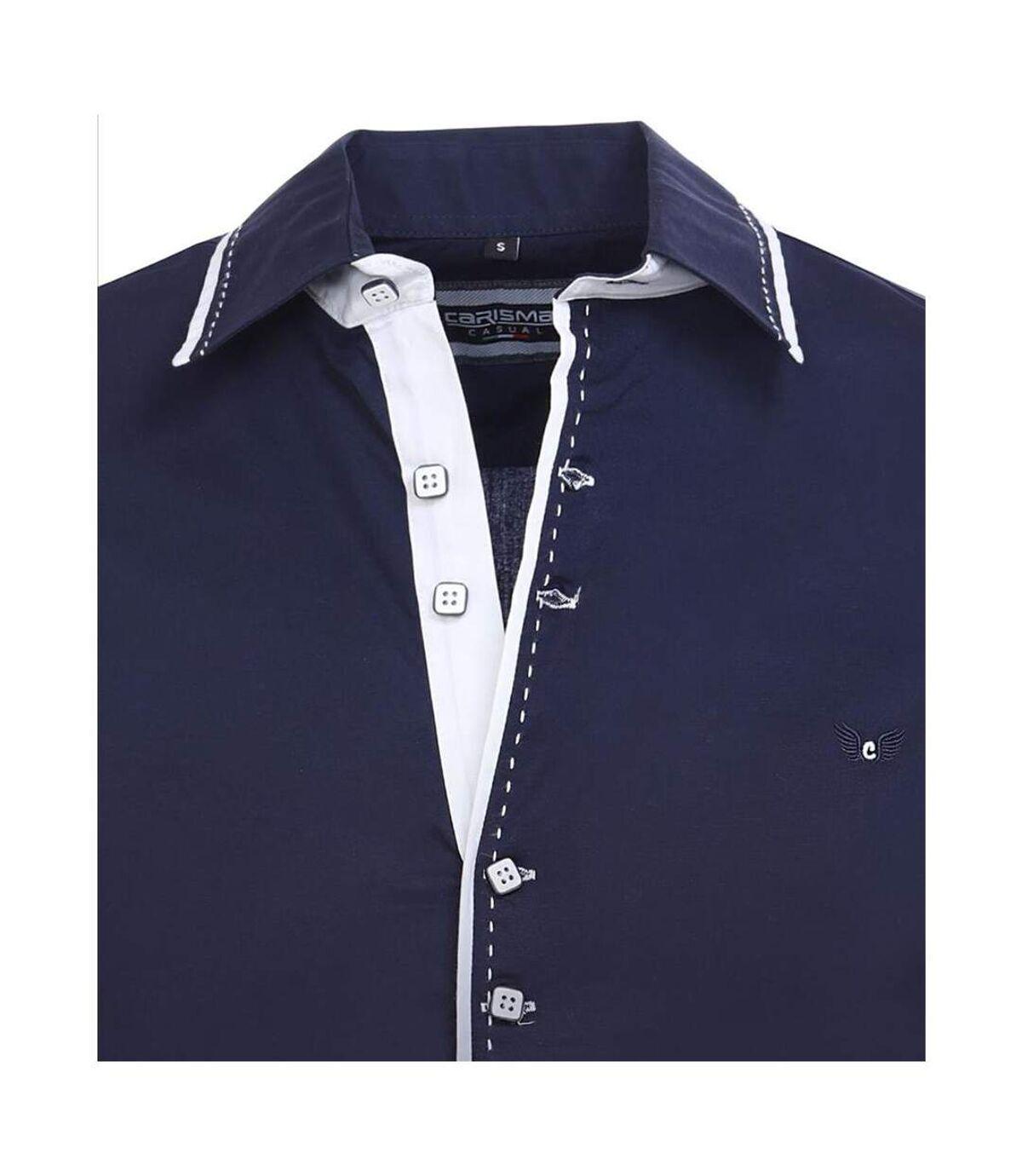 Chemise homme tendance Chemise 8245 bleu marine