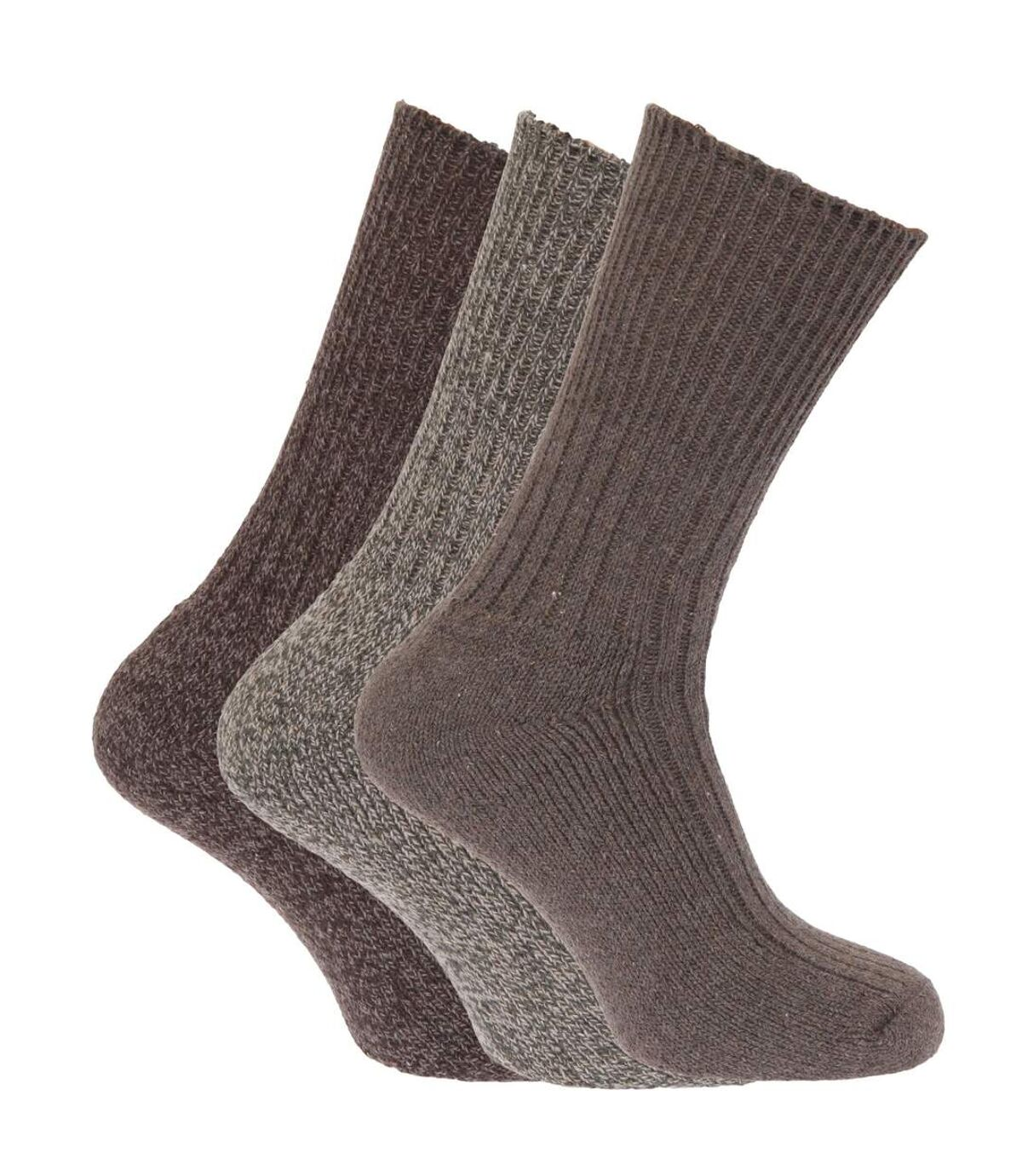 Mens Wool Blend Non Elastic Top Light Hold Socks (Pack Of 3) (Shades of Brown) - UTMB159
