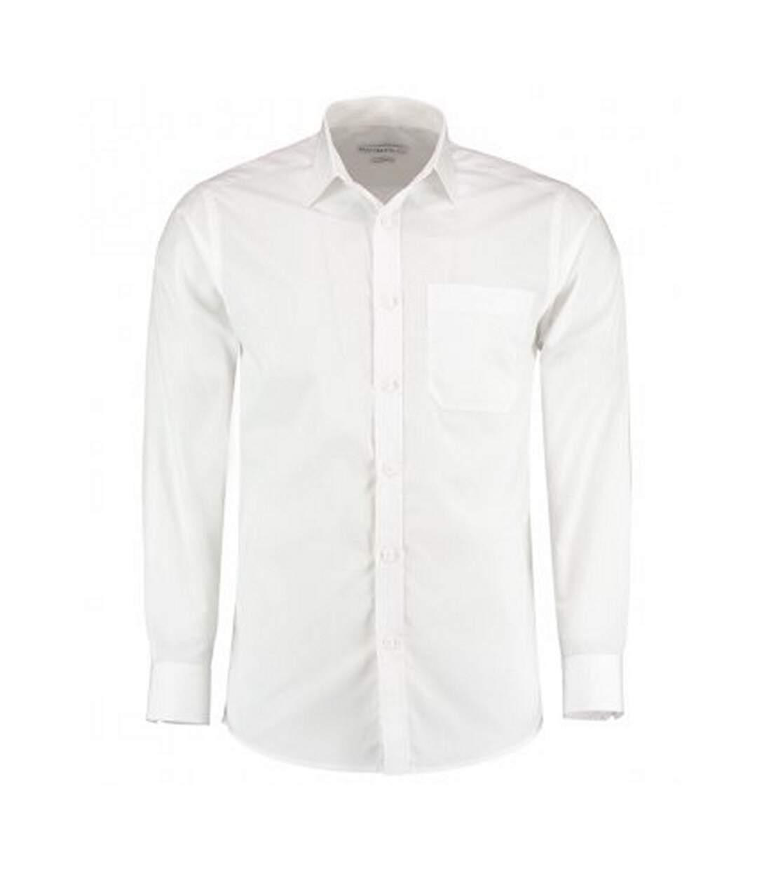 Kustom Kit Mens Long Sleeve Tailored Poplin Shirt (White) - UTPC3156
