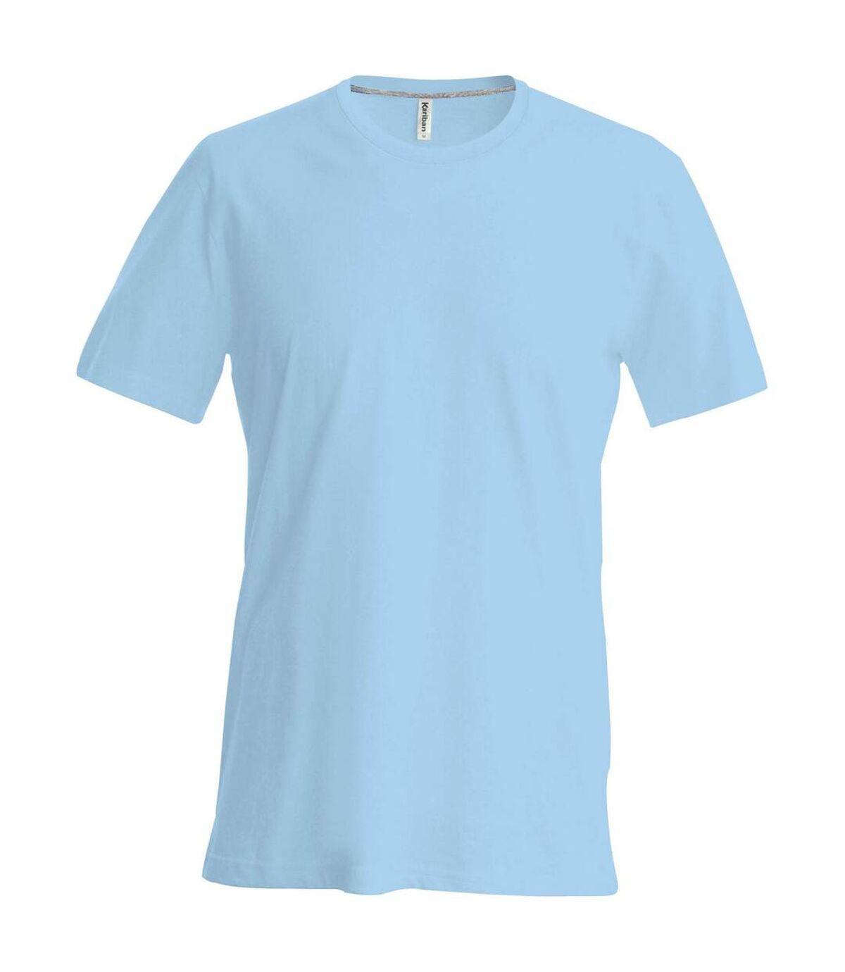 Kariban Mens Slim Fit Short Sleeve Crew Neck T-Shirt (Sky Blue) - UTRW706
