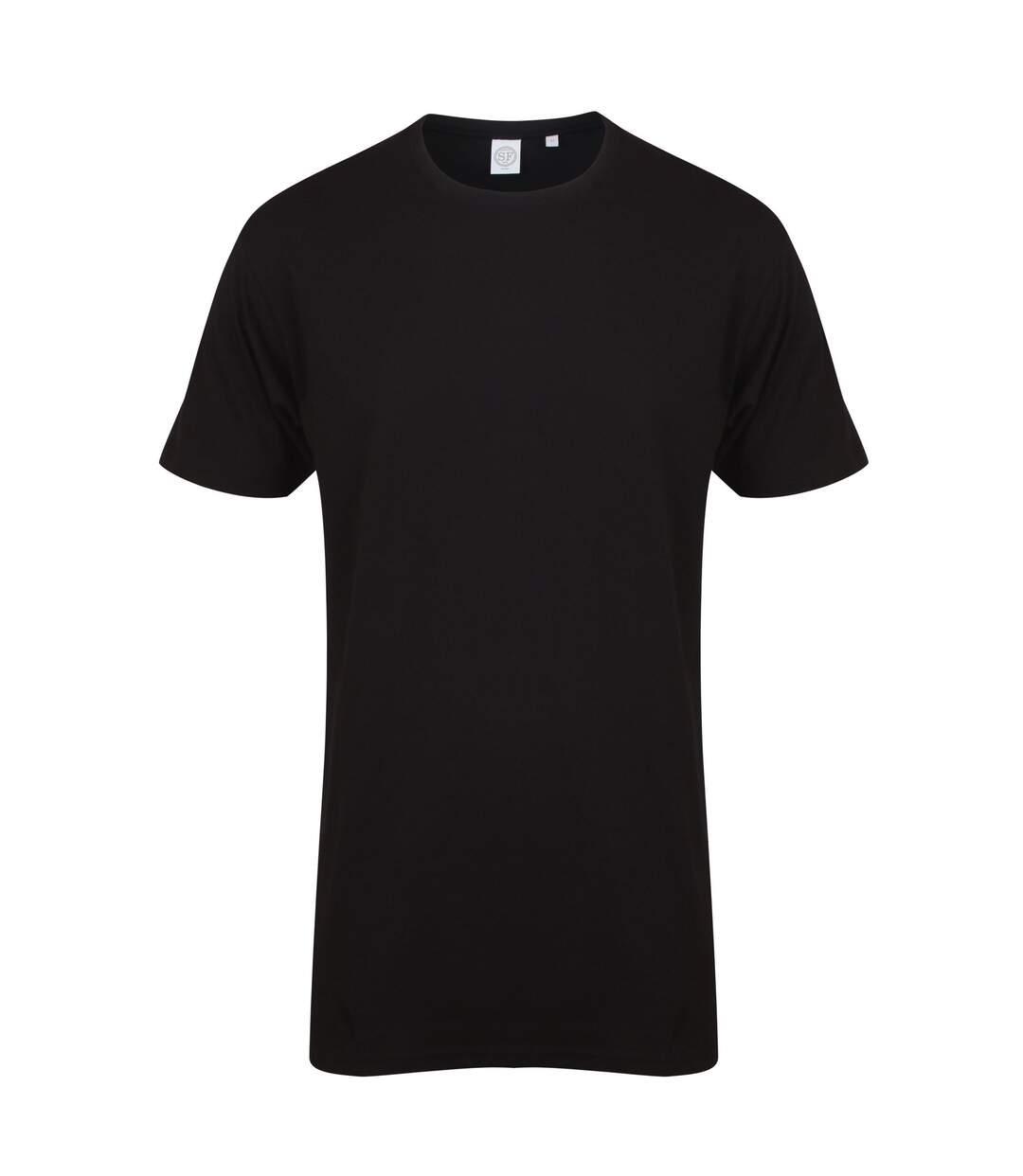 Skinnifit Mens Longline Dipped Hem T-Shirt (Black) - UTRW5293