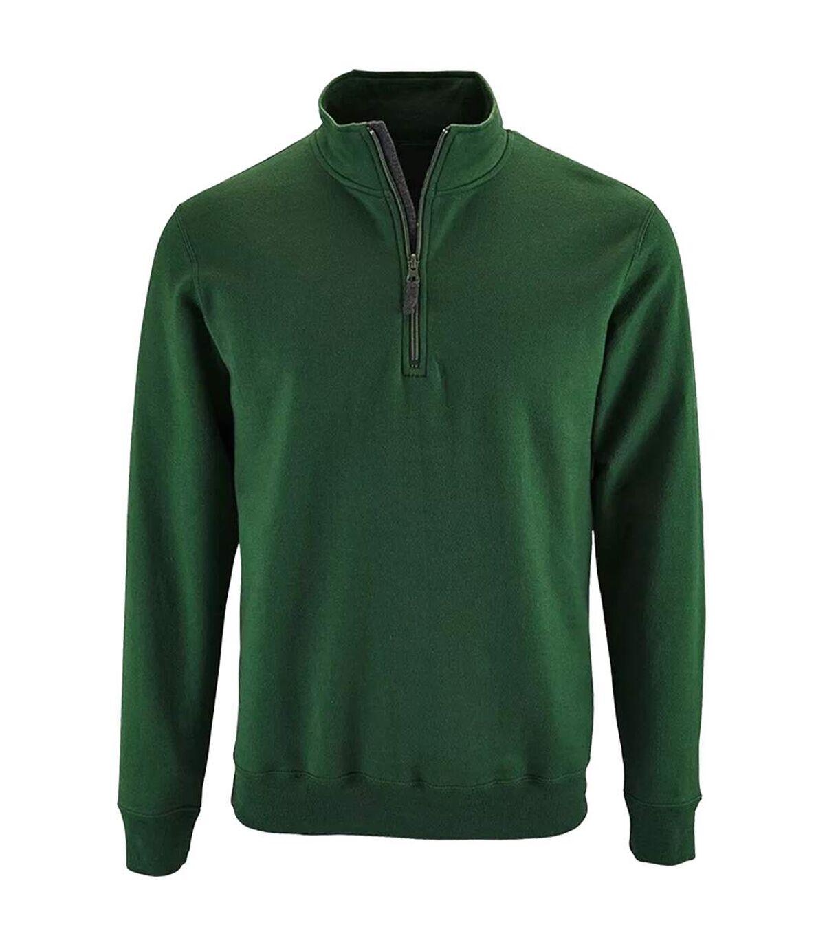 SOLS Mens Stan Contrast Zip Neck Sweatshirt (Bottle Green) - UTPC3172