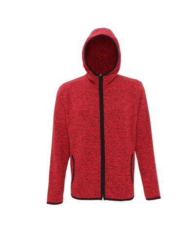 Tri Dri Mens Melange Knit Fleece Jacket (Fire Red/Black Fleck) - UTRW5459
