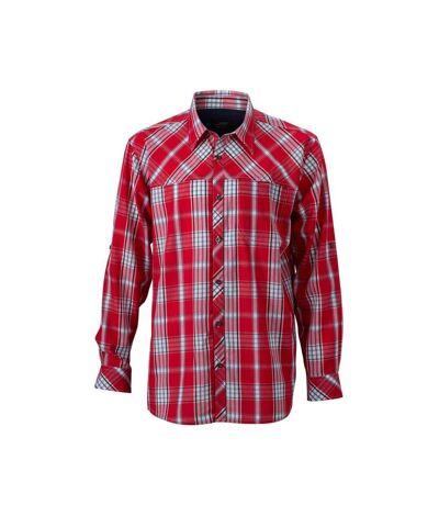 James and Nicholson Mens UV Protected Long Sleeve Trekking Shirt (Red/Navy) - UTFU692
