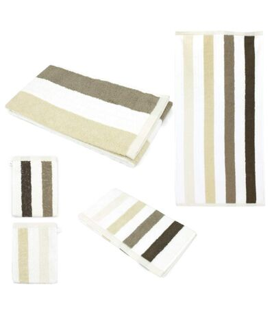 Parure de bain 5 pièces CLASSIC STRIPES Marron 480 g/m2