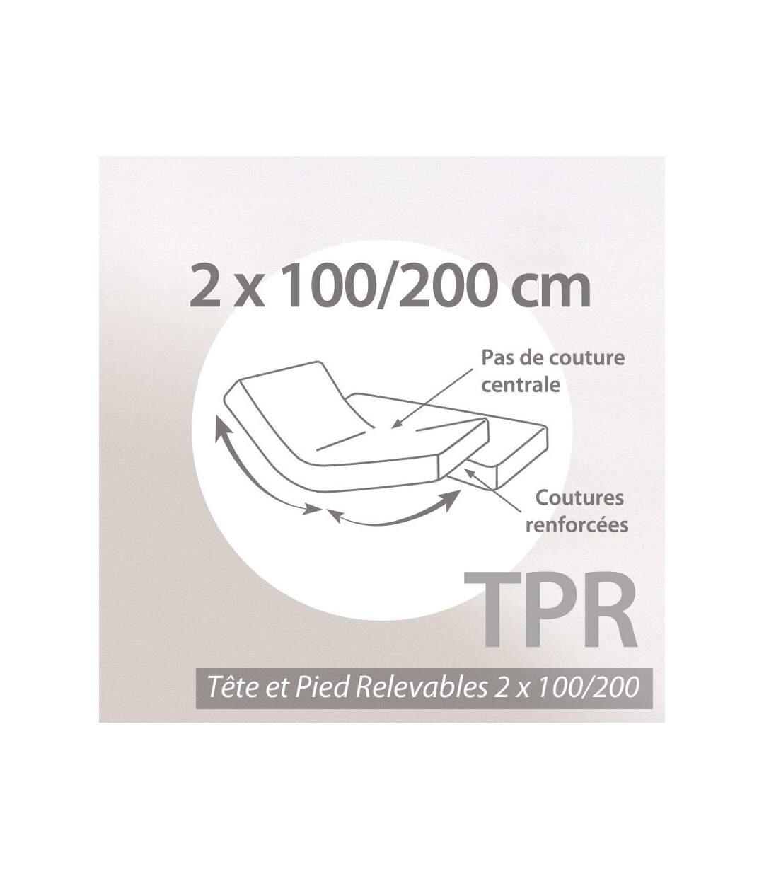 Protège matelas absorbant Antonin blanc 2x100x200 Spécial lit articulé TPR Grand Bonnet 30cm