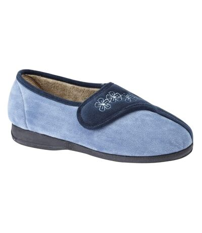 Sleepers Womens/Ladies Gemma Touch Fastening Embroidered Slippers (Navy/Blue) - UTDF1347