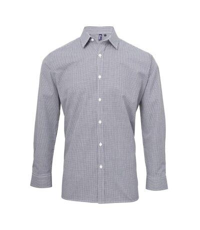 Premier Mens Microcheck Long Sleeve Shirt (Navy/White) - UTRW5526