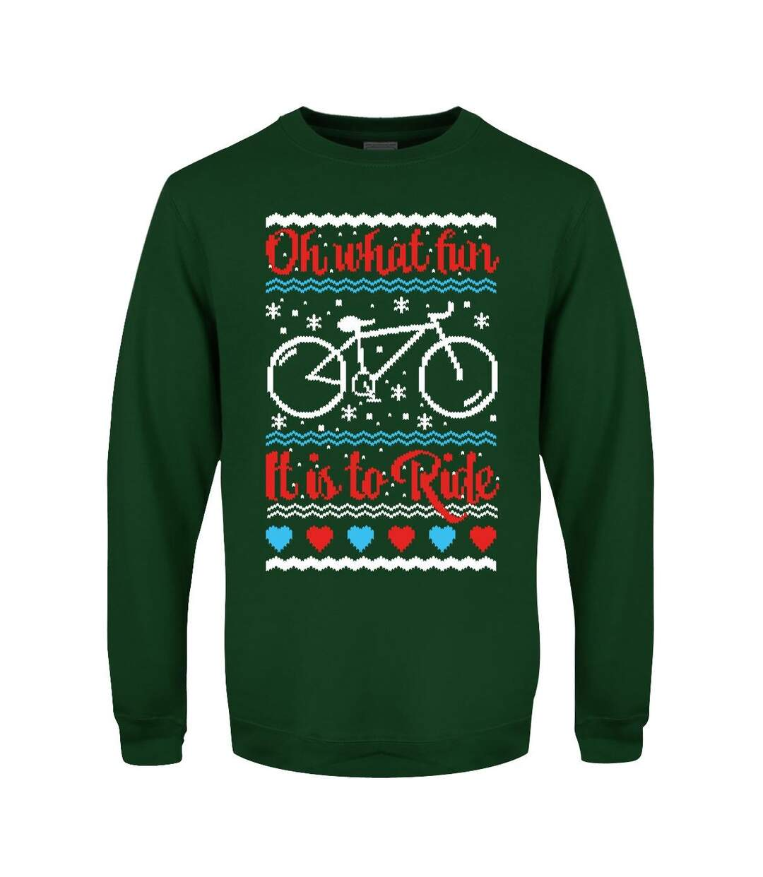 Grindstore Mens Oh What Fun It Is To Ride Christmas Jumper (Bottle Green) - UTGR4739