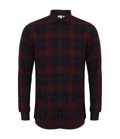 Skinni Fit Mens Brushed Check Casual Long Sleeve Shirt (Burgundy Check) - UTRW5497