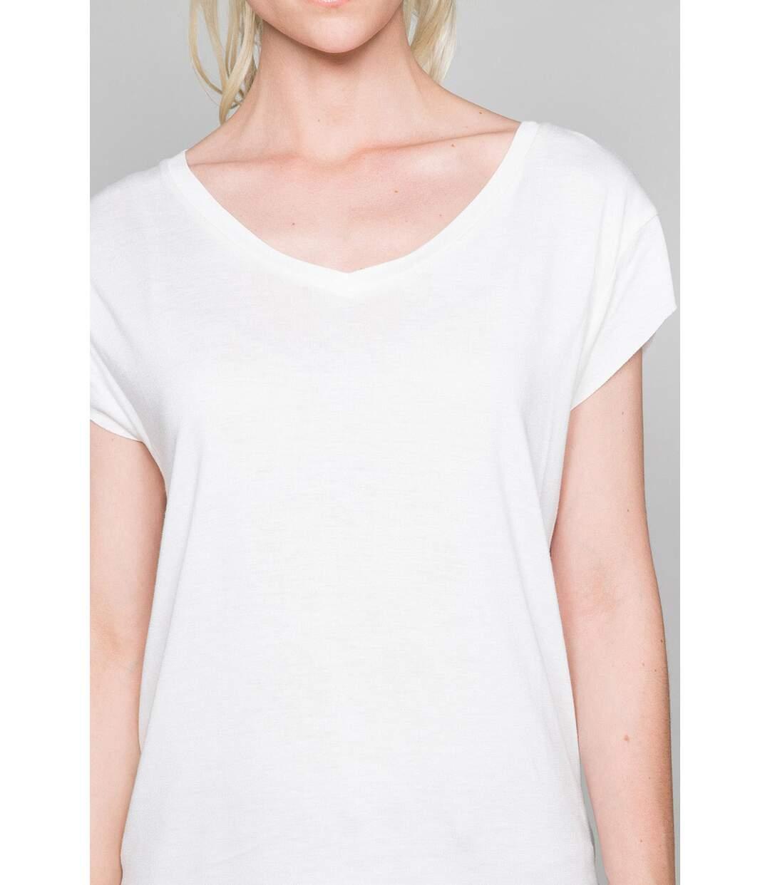 T-shirt fluide col V SWEET Off White