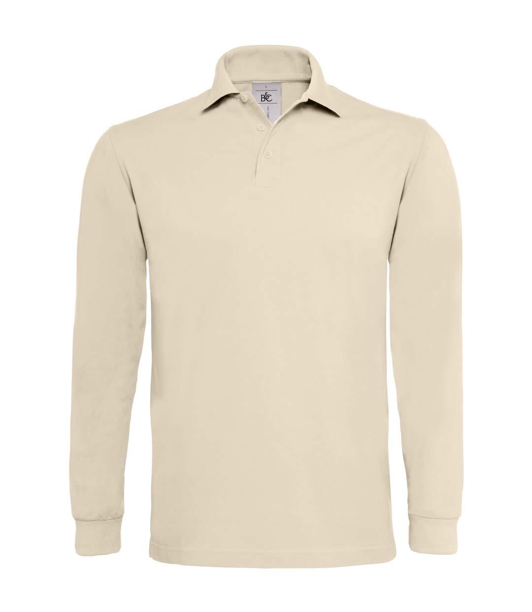 B&C Mens Heavymill Cotton Long Sleeve Polo Shirt (Red) - UTRW3007