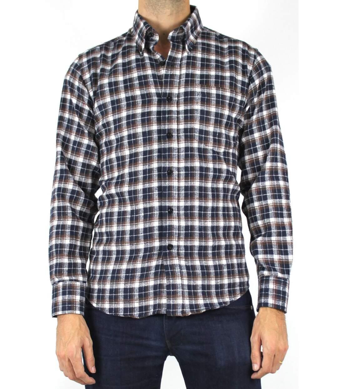 Chemise à carreaux aspect laine