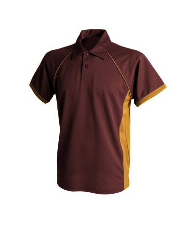 Finden & Hales Mens Piped Performance Sports Polo Shirt (Maroon/ Amber/ Amber) - UTRW427