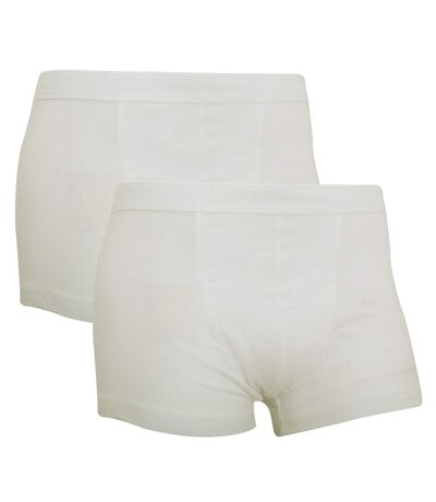Fruit Of The Loom Mens Classic Shorty Cotton Rich Boxer Shorts (Pack Of 2) (White) - UTRW3155