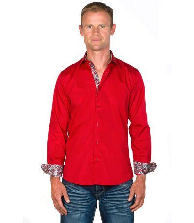 Chemise Coupe Ajustée Coton Rouge Tom