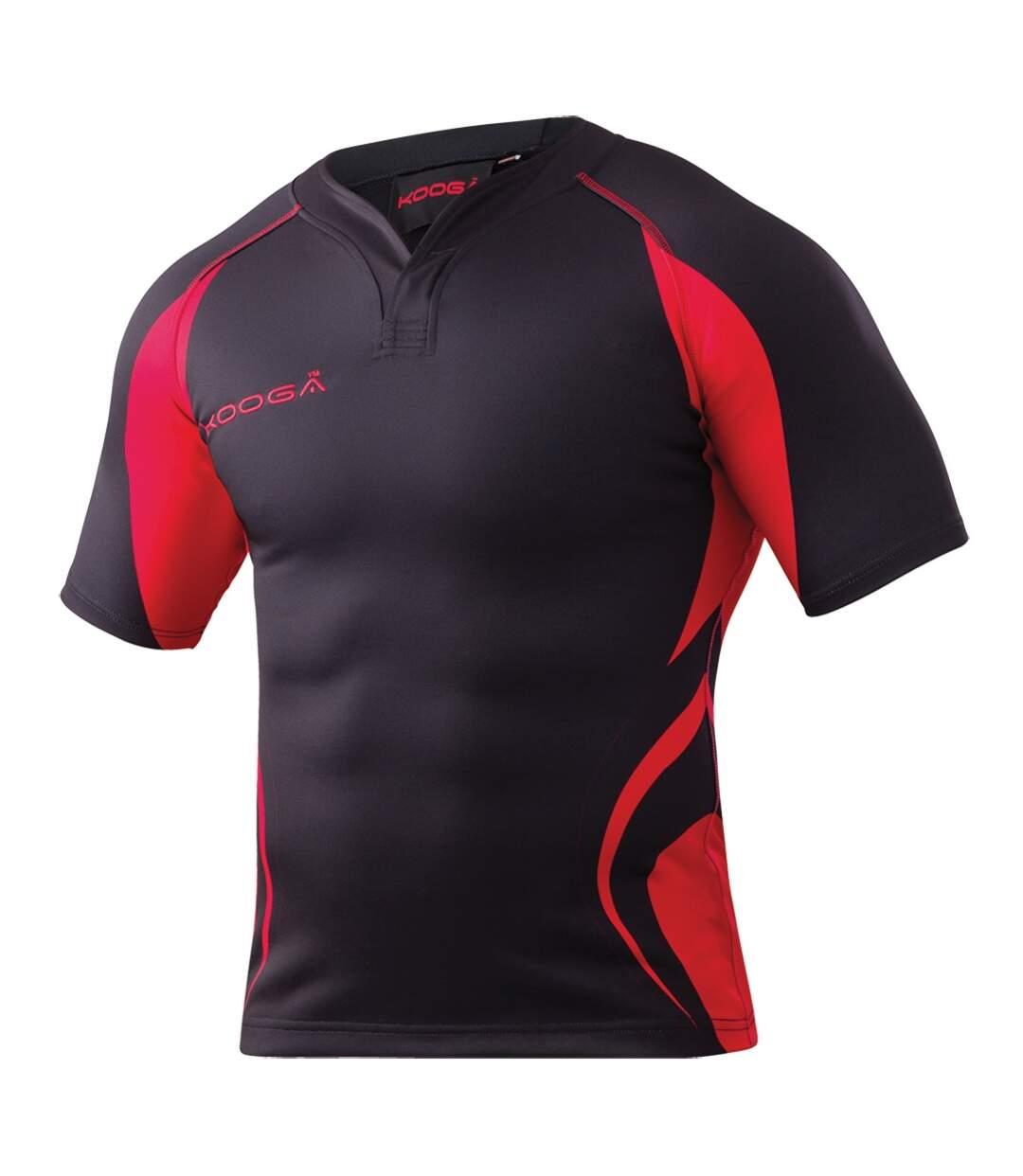 KooGa Mens Tight Fit Curve Premium Match Sports Shirt (Black / Gold) - UTRW2053