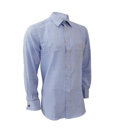 Brook Taverner Mens Bresso Superfine Classic Executive Long Sleeve Cotton Shirt (Blue Herringbone) - UTRW300