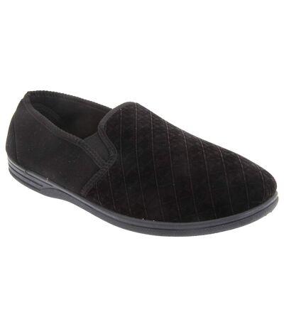 Zedzzz Mens Kevin Velour Twin Gusset Slippers (Black) - UTDF838