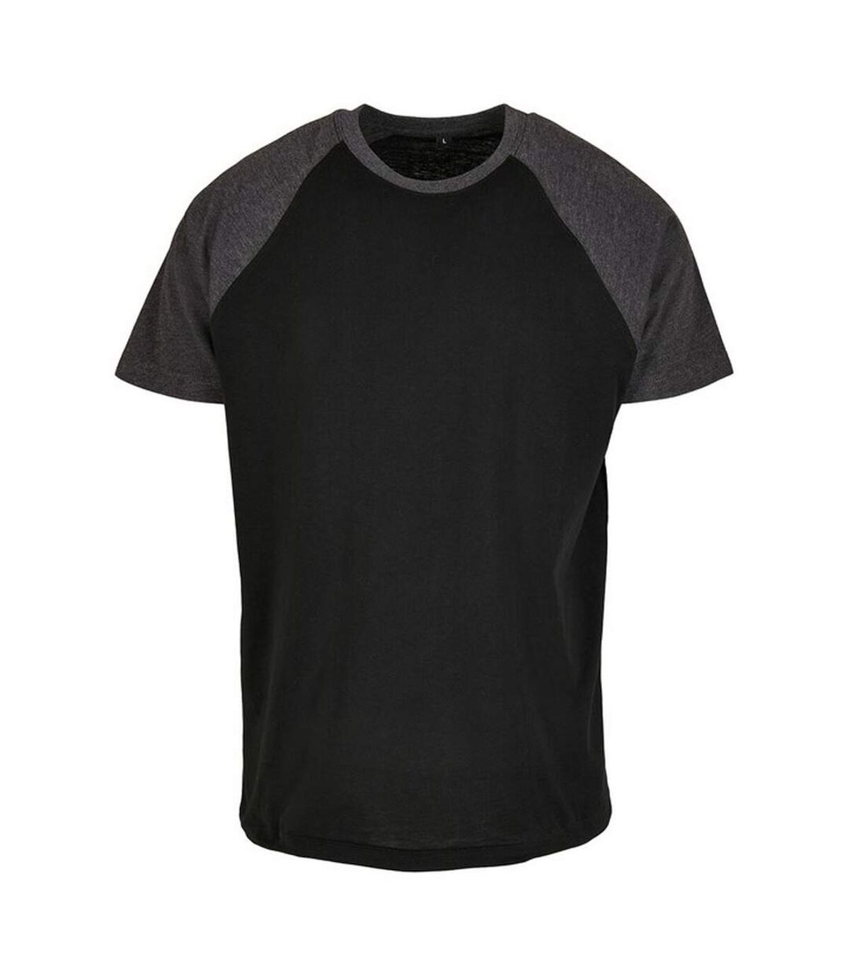 Build Your Brand Mens Raglan Contrast Tee (Black/Charcoal) - UTRW5817