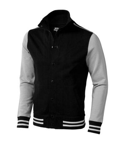 Slazenger Mens Varsity Sweat Jacket (Solid Black/Grey) - UTPF1756
