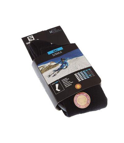 Chaussette Longues - 1 paire - Pointe renforcée - Respirantes - Bouclette talon et orteil - Ski - Chaude - Noir - S/MAX BLACK/EBONY