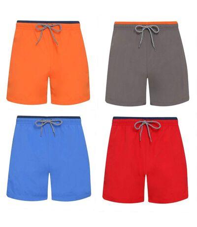 Lot 4 shorts de bain pour homme - orange bleu roi gris et rouge