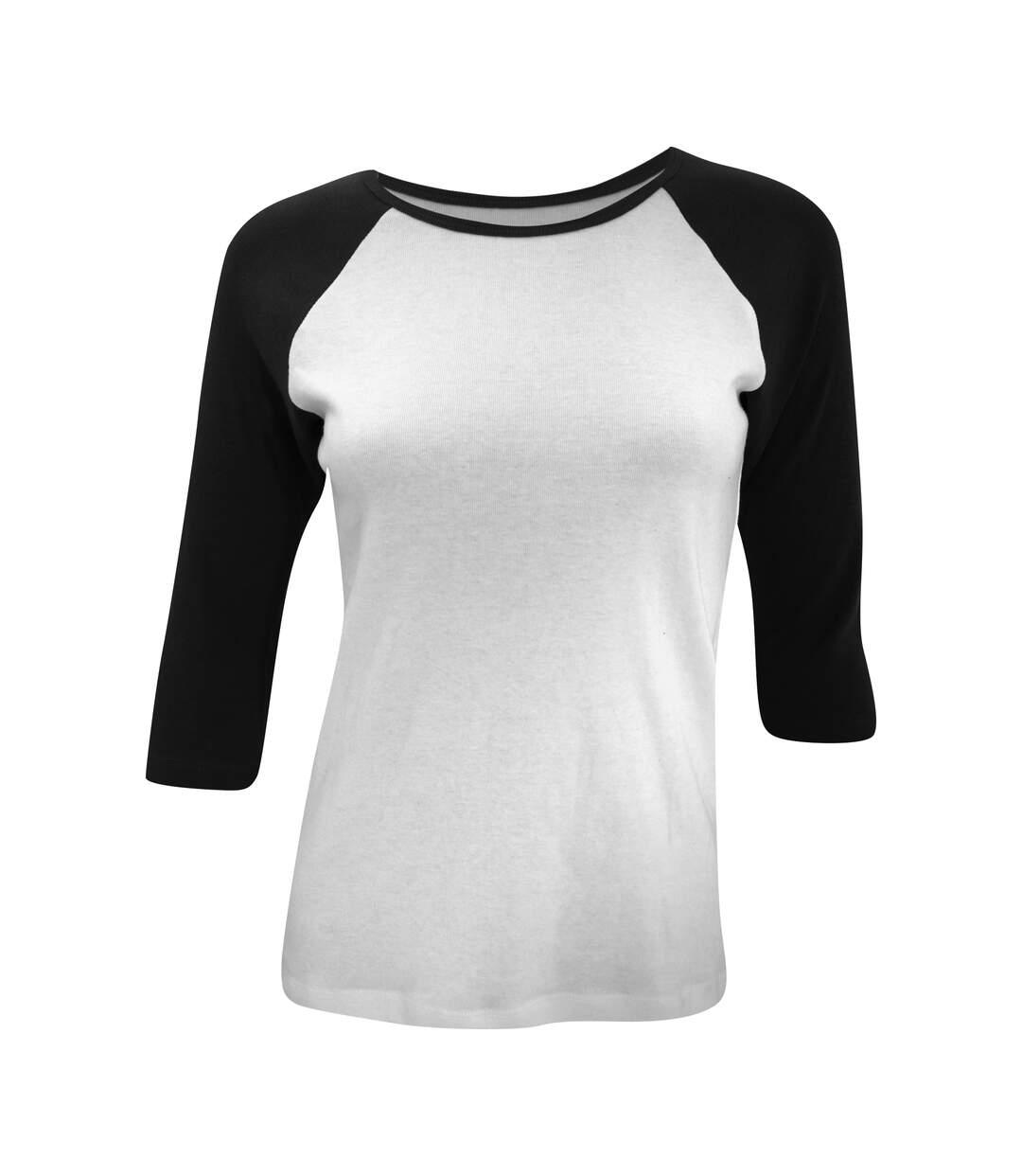 Bella - T-Shirt À Manches 3/4, 100% Coton - Femme (Blanc/Noir) - UTBC2582