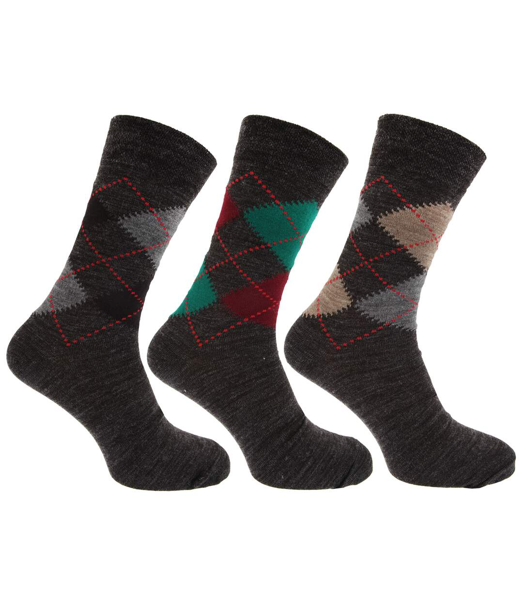 Mens Traditional Argyle Pattern Lambs Wool Blend Socks With Lycra (Pack Of 3) (Shades of Grey) - UTMB275