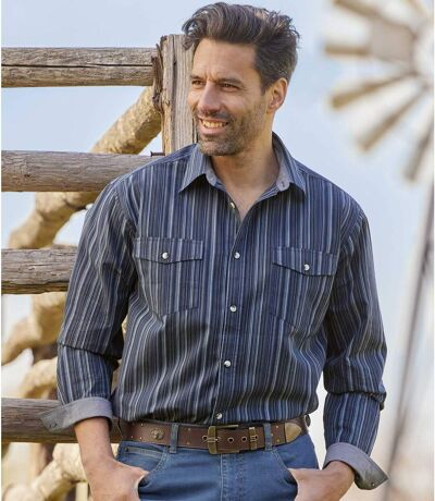 Men's Striped Navy Poplin Shirt