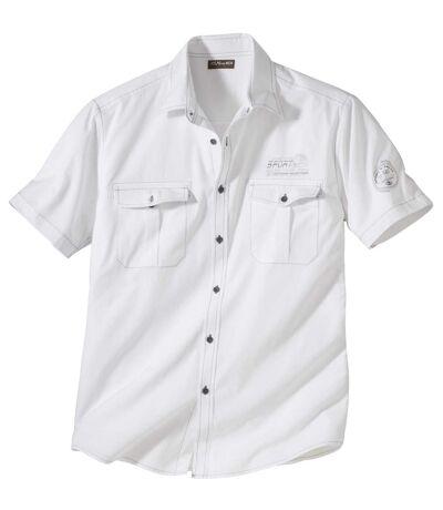 Men's White Short Sleeve Aviator Shirt