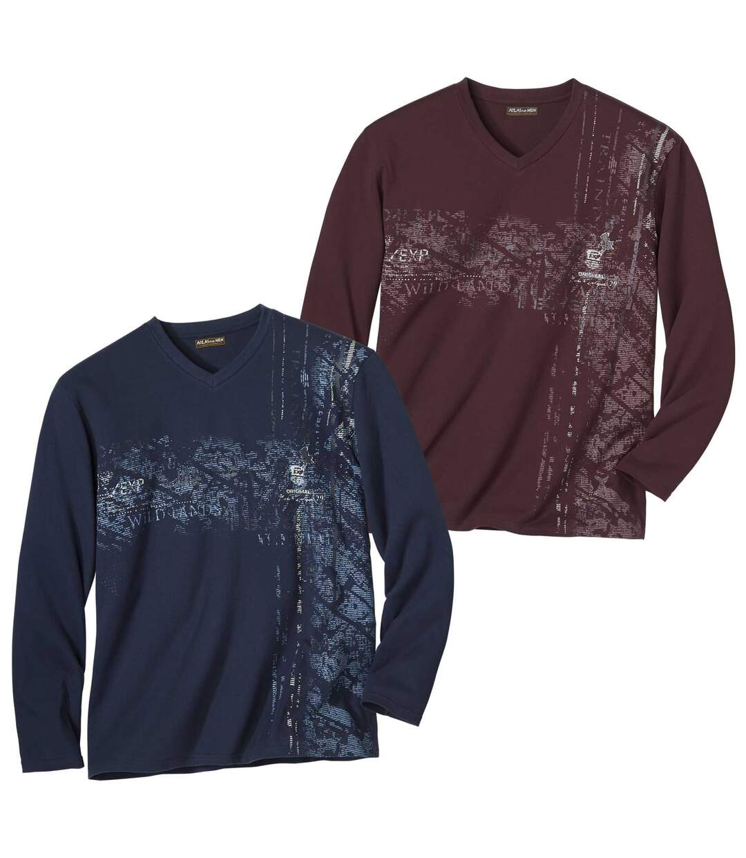 Pack of 2 Men's V-Neck Tops - Navy and Burgundy