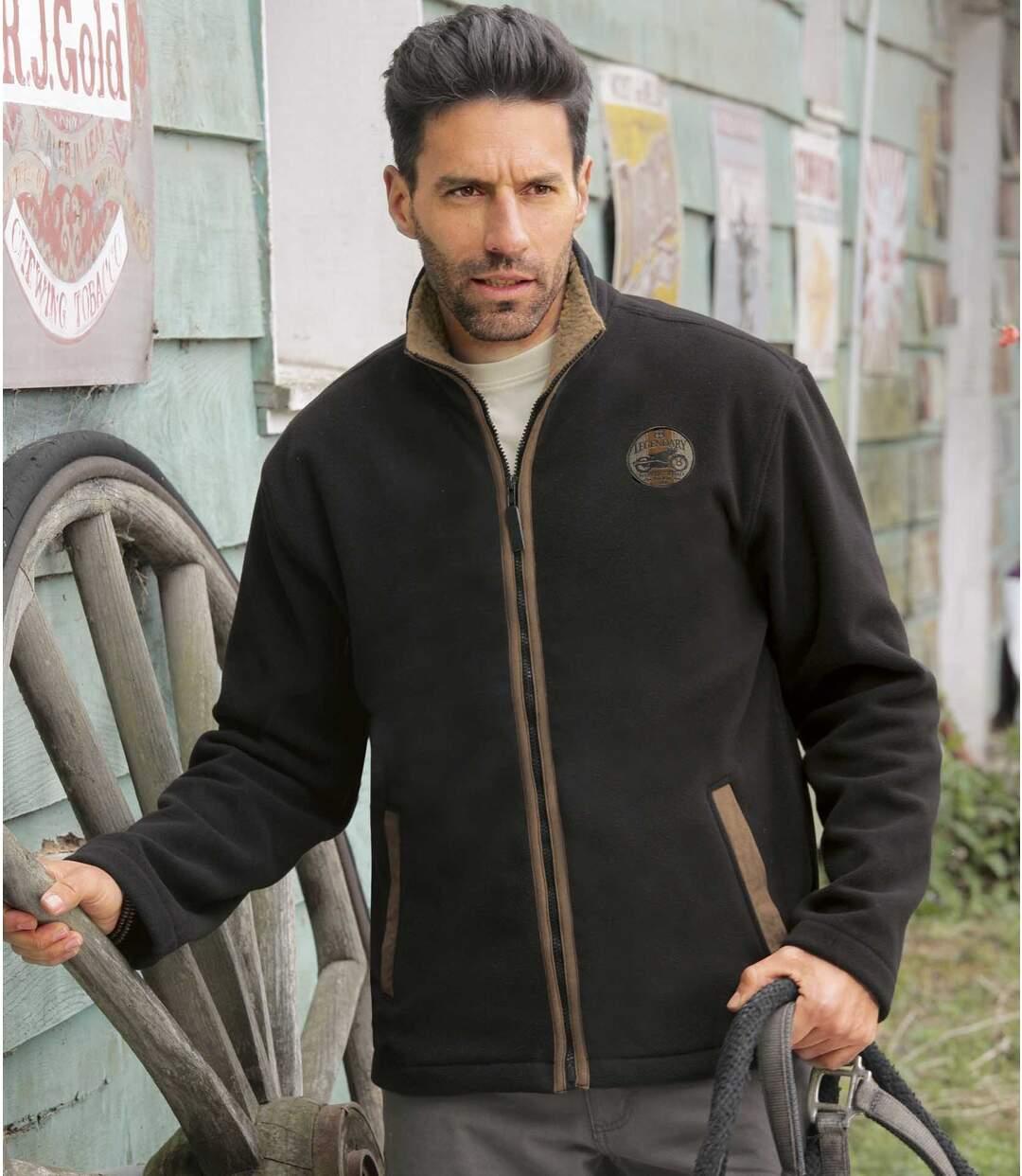 Men's Fleece Jacket - Black Brown