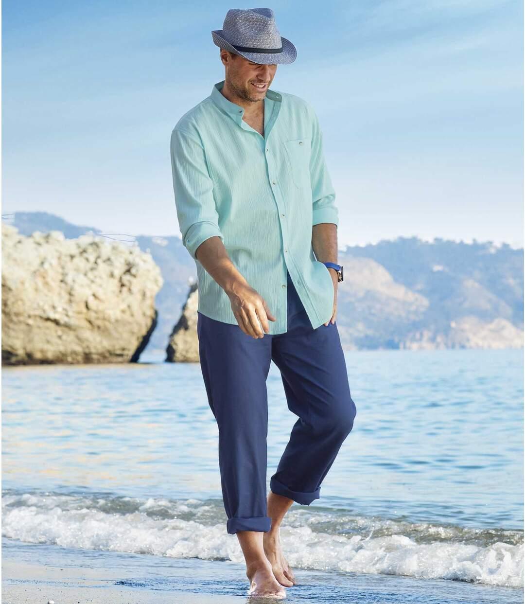 Modré strečové nohavice