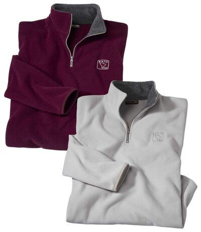Pack of 2 Men's Microfleece Zip Up Sweaters - Plum Oatmeal