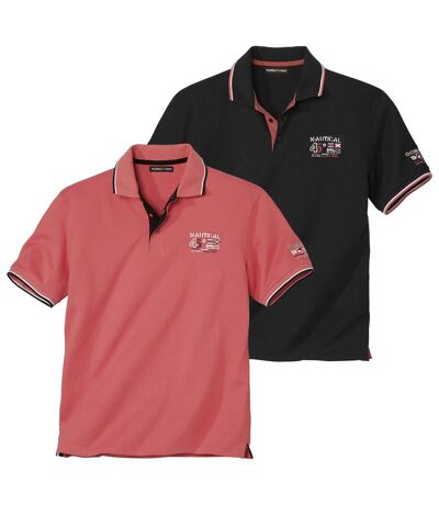 Pack of 2 Men's Nautical Polo Shirts - Coral Black