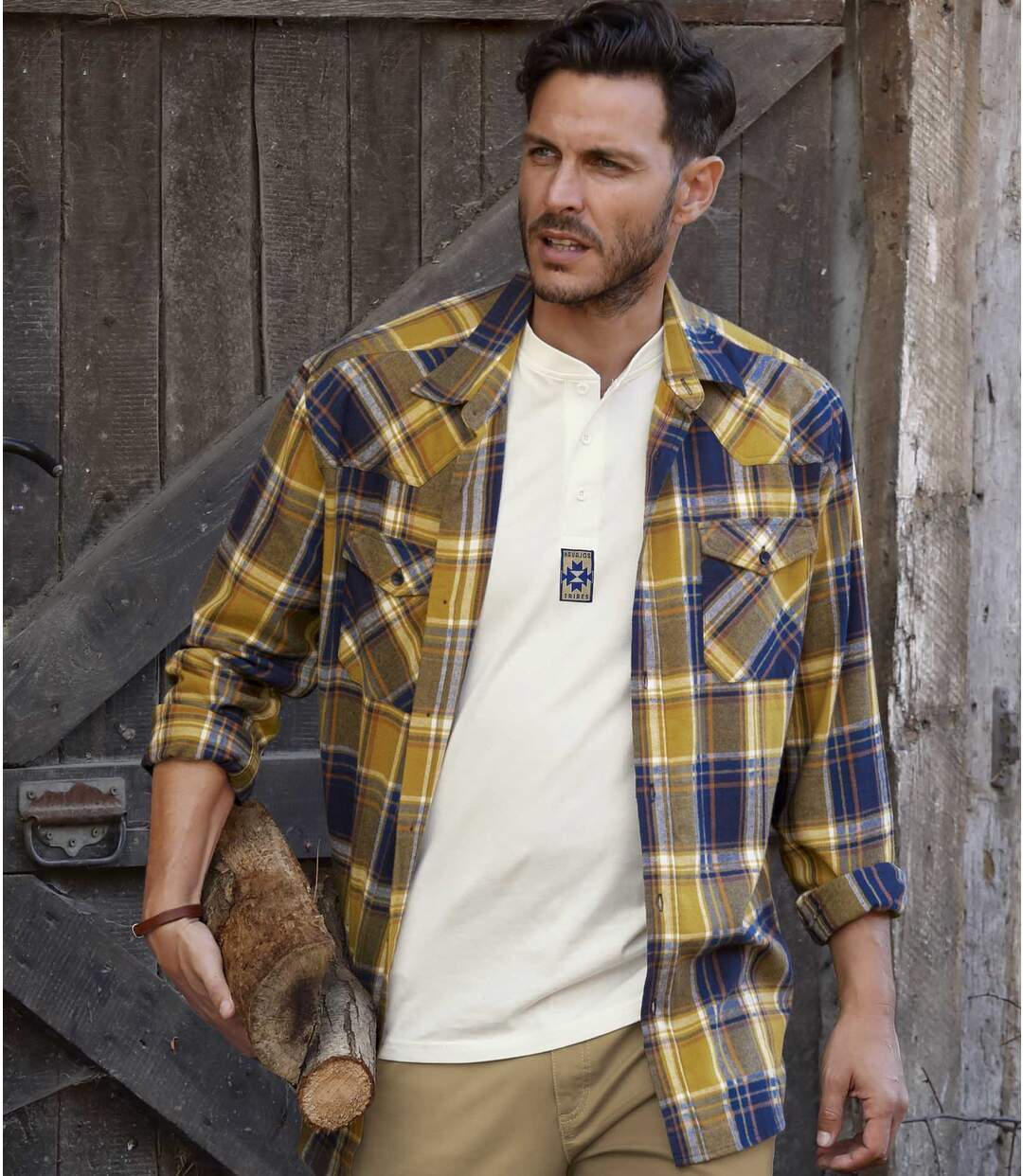 Flannel Checked Shirt - Blue, Mustard and Cream