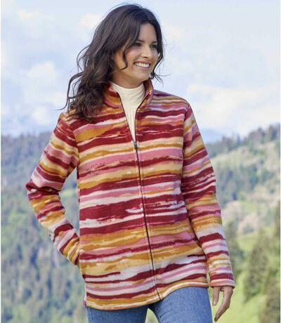 Women's Striped Full Zip Fleece Jacket - Pink Red Orange