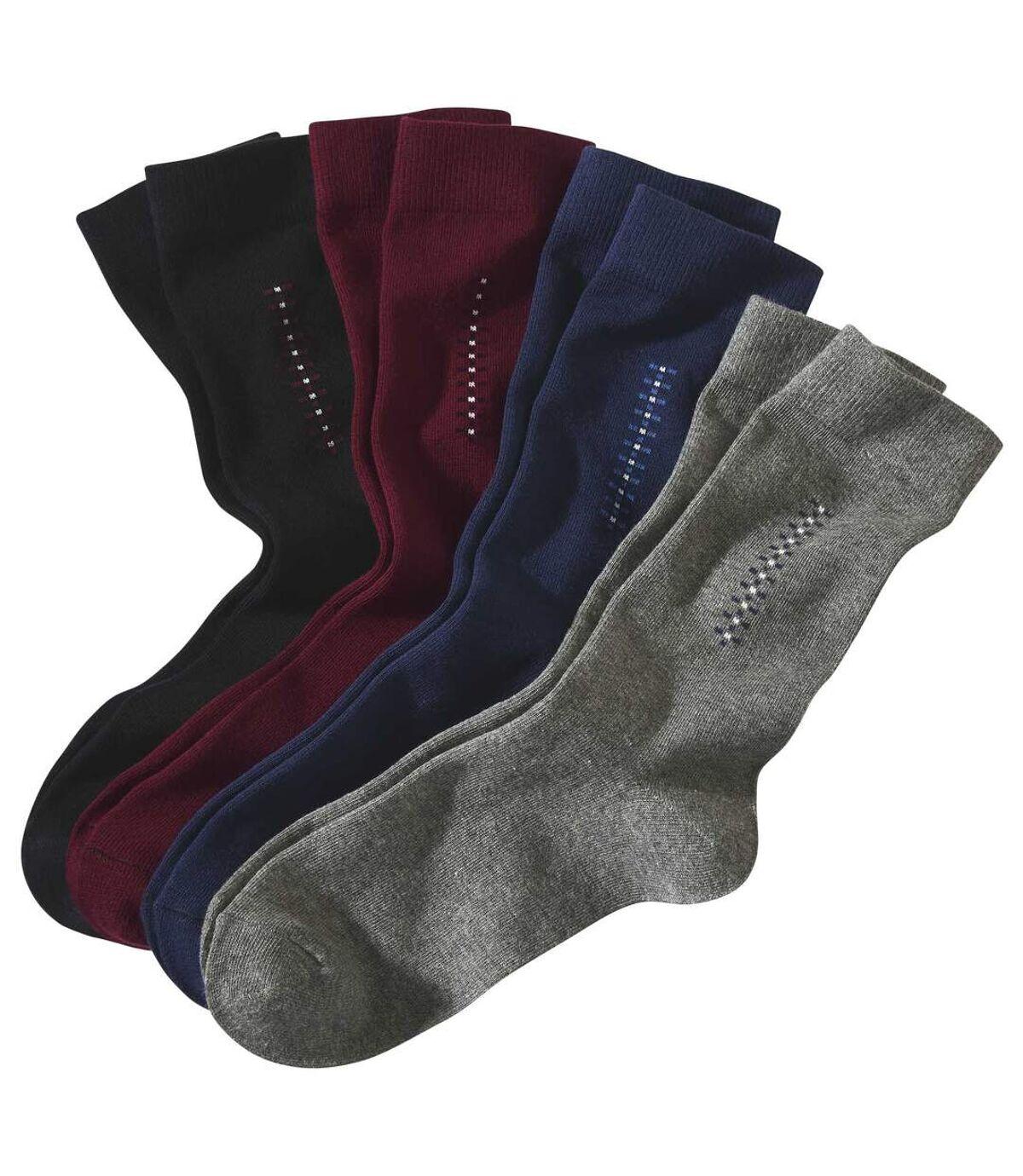 Set van 4 paar sokken met jacquardmotief Atlas For Men