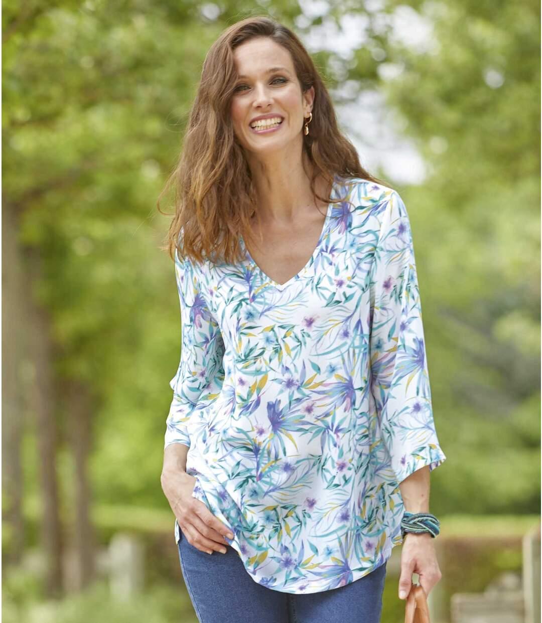 Krepp-Bluse mit Frühlings-Motiv
