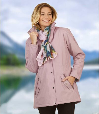 Women's Pastel Pink Microtech Parka - Quilted Lining