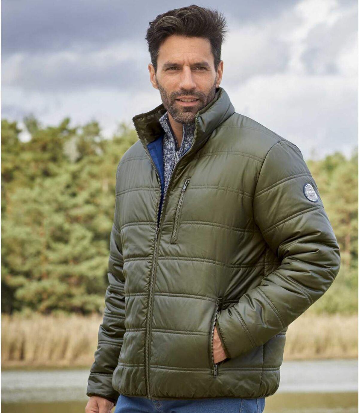 Men's Khaki Lightweight Puffer Jacket - Water-Repellent - Full Zip Atlas For Men
