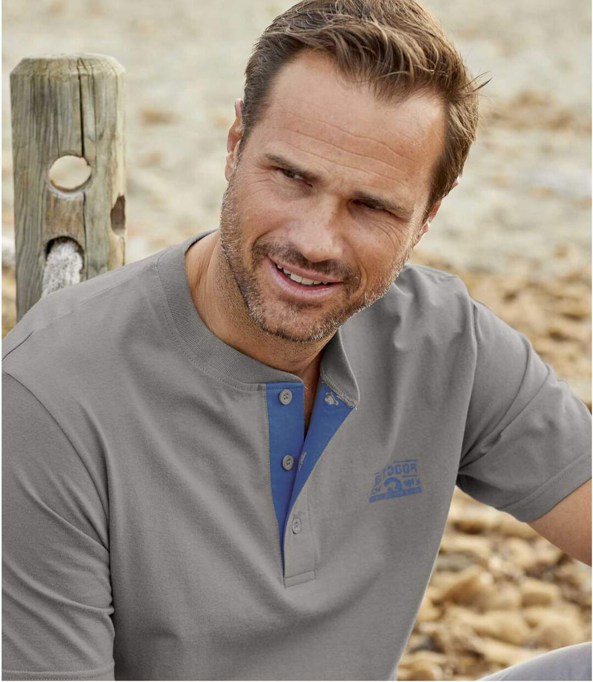 Sada 3 triček Adventure se zapínáním u krku Atlas For Men