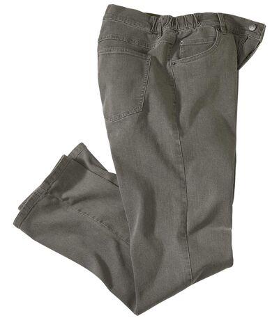 Wygodne, szare jeansy ze stretchem i półelastyczną talią