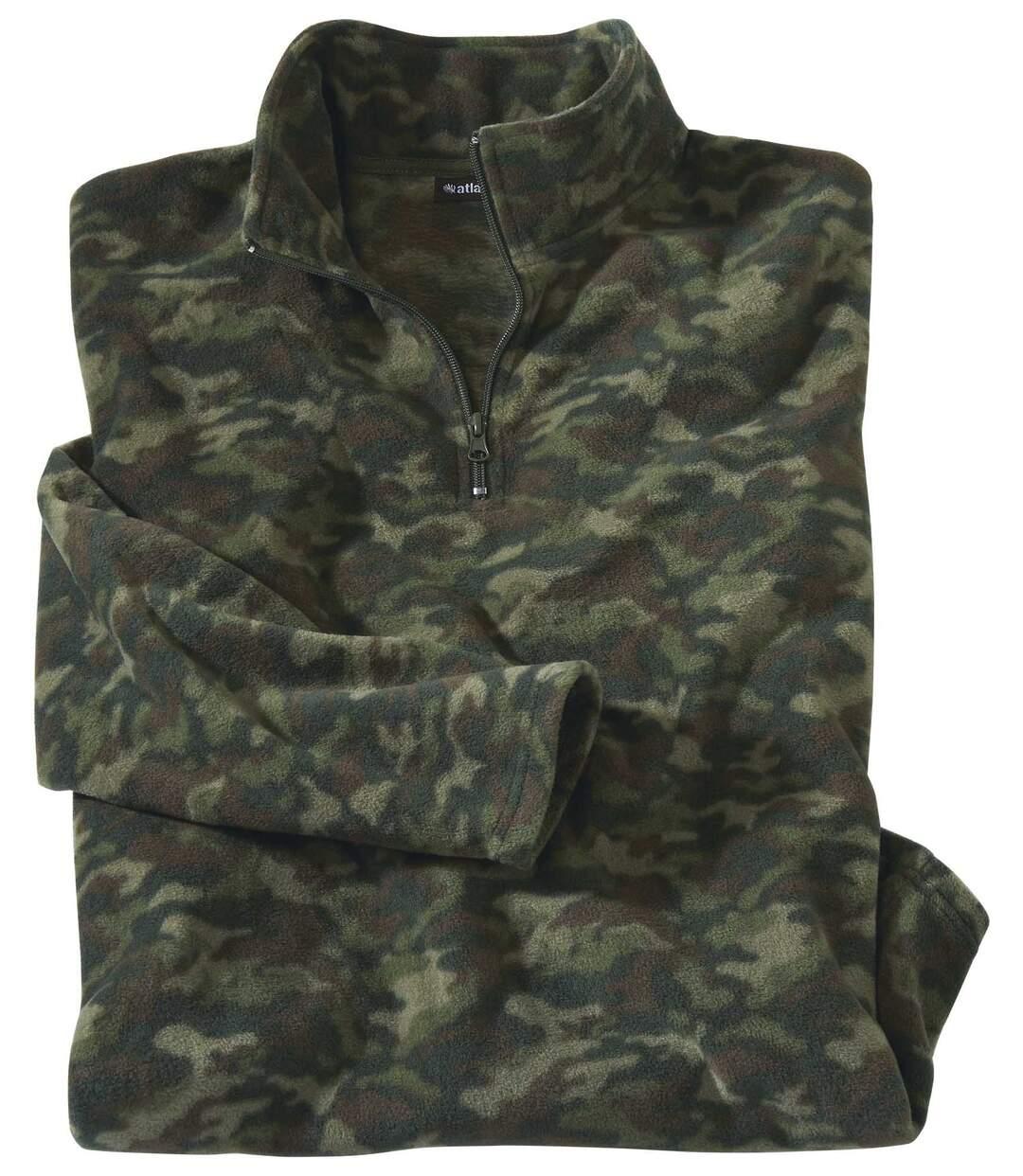 Fleecepullover Camouflage mit RV-Kragen