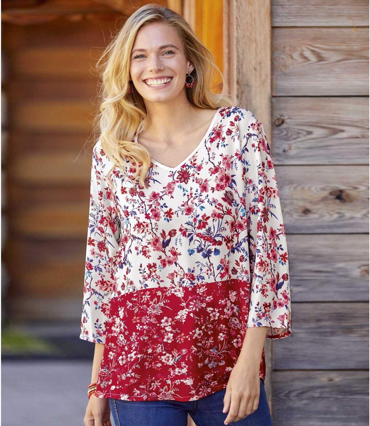 Women's Floral Crepe Blouse - Red Off-White Atlas For Men