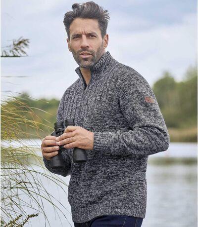 Trykotowy sweter z wykładanym kołnierzem Winter