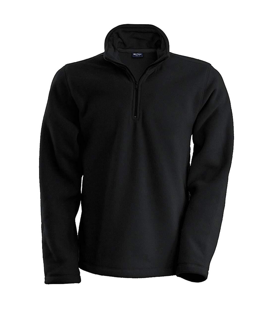Kariban Mens Enzo 1/4 Zip Fleece Top (Black) - UTRW738